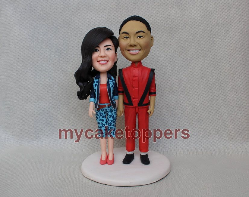 Wedding Cake Topper Funny Bride And Groom Figure Figurines Michael Jackson Beat It By