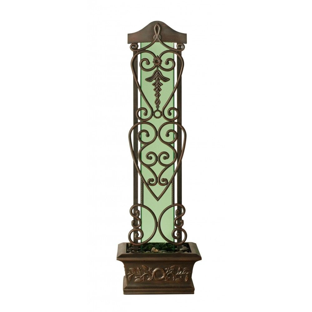 Bluworld Trellis Outdoor Floor Fountain Green Tempered Glass & Copper Frame #fountain #outdoorfountain