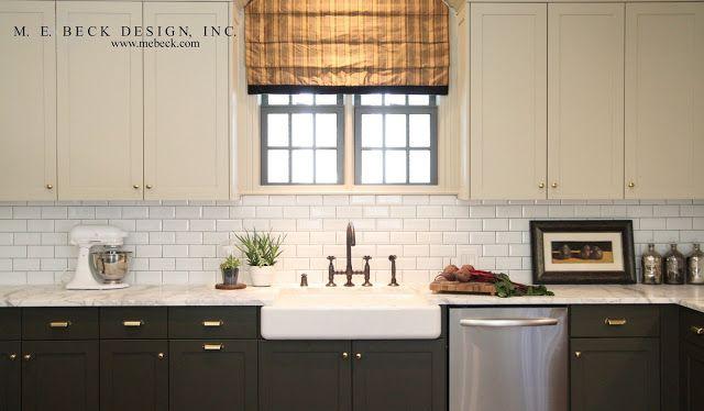 dark gray & white cabinets | white subway tile & dark grout ...