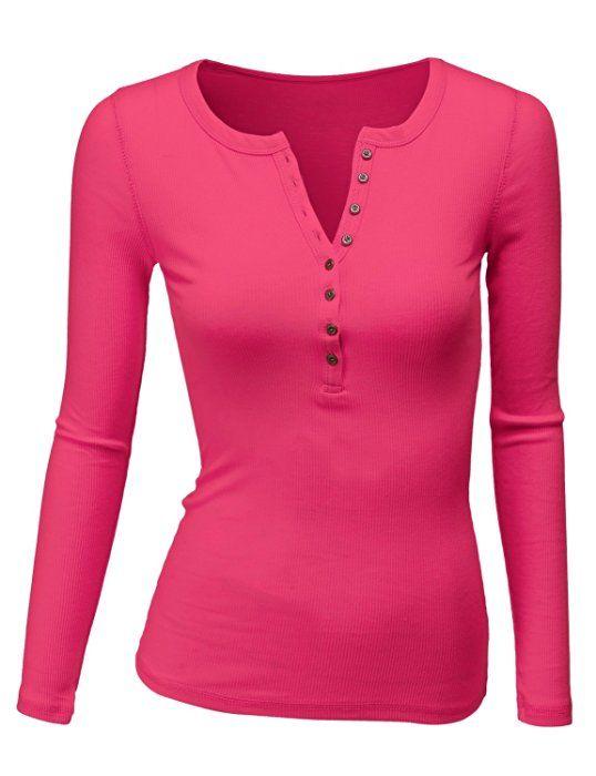 409a1ac2d14 Doublju Womens Long Sleeve Thermal Cotton Henley T-Shirt FUCHSIA SMALL