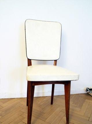 Chaise Vintage Scandinave Blanche Et Bois Pas Cher