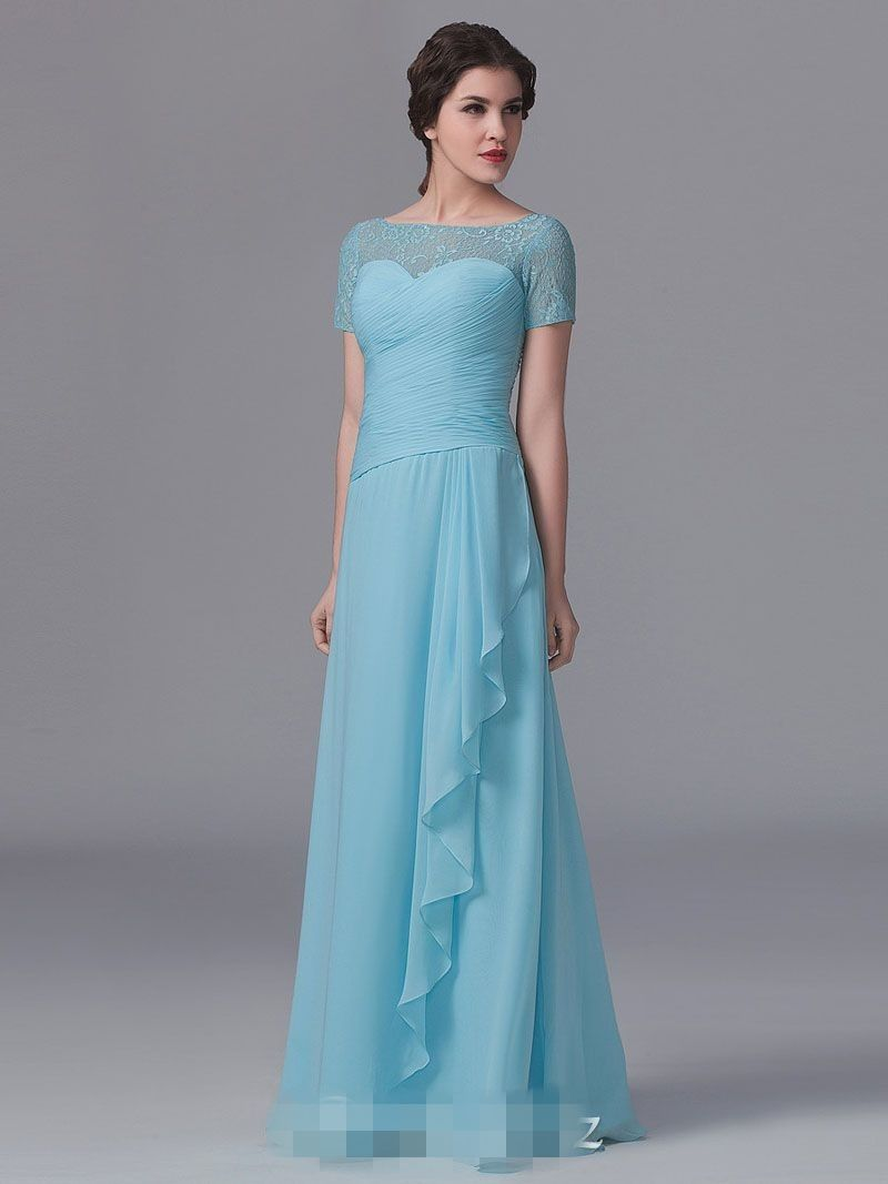 Click to buy ucuc light blue lace top chiffon long bridesmaid
