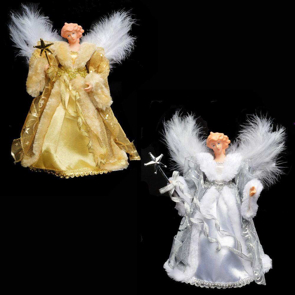 D coration sapin de no l 21cm haut de l 39 arbre ange plume ailes or ou argent kao d coration - Ange sapin noel ...