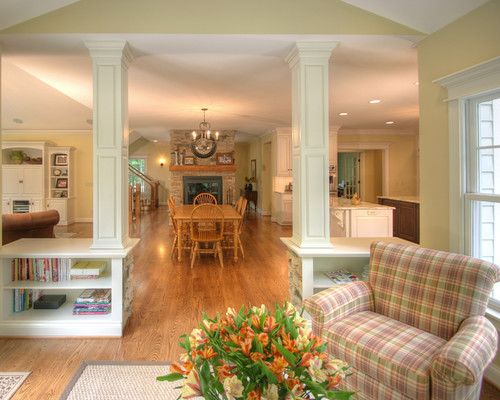 Half Walls Room Dividers With Shelves Trim Wainscoting And Columns Quiet Casual Home Sunroom
