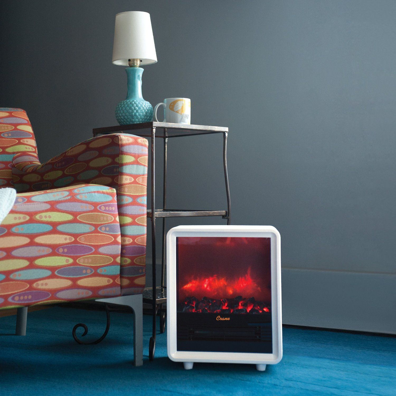 Crane Mini Fireplace Heaters Come In White Orange And Yellow And