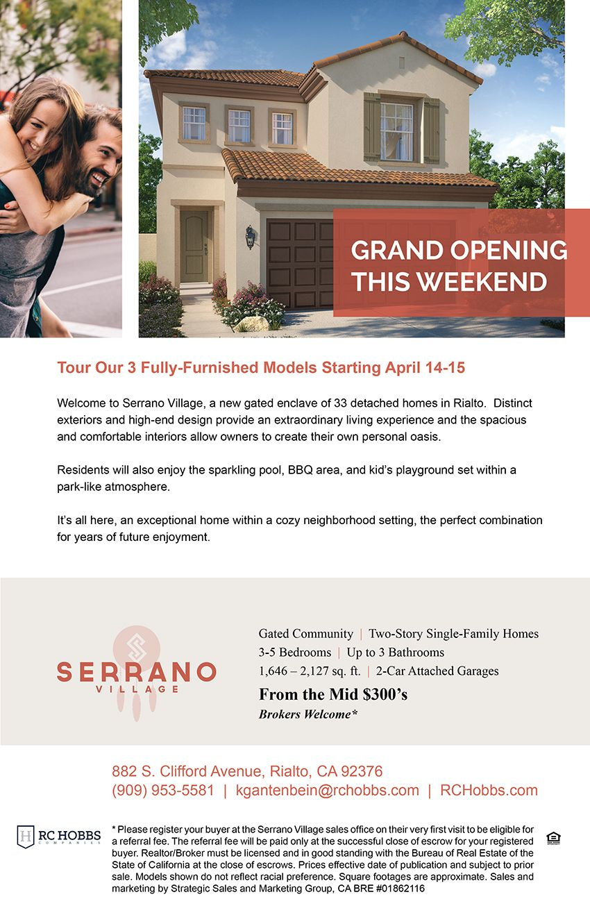 New Homes For Sale In Rialto California Grand Opening This Weekend New Homes In Rialto Serrano Village Gat New Homes For Sale New Home Builders Village