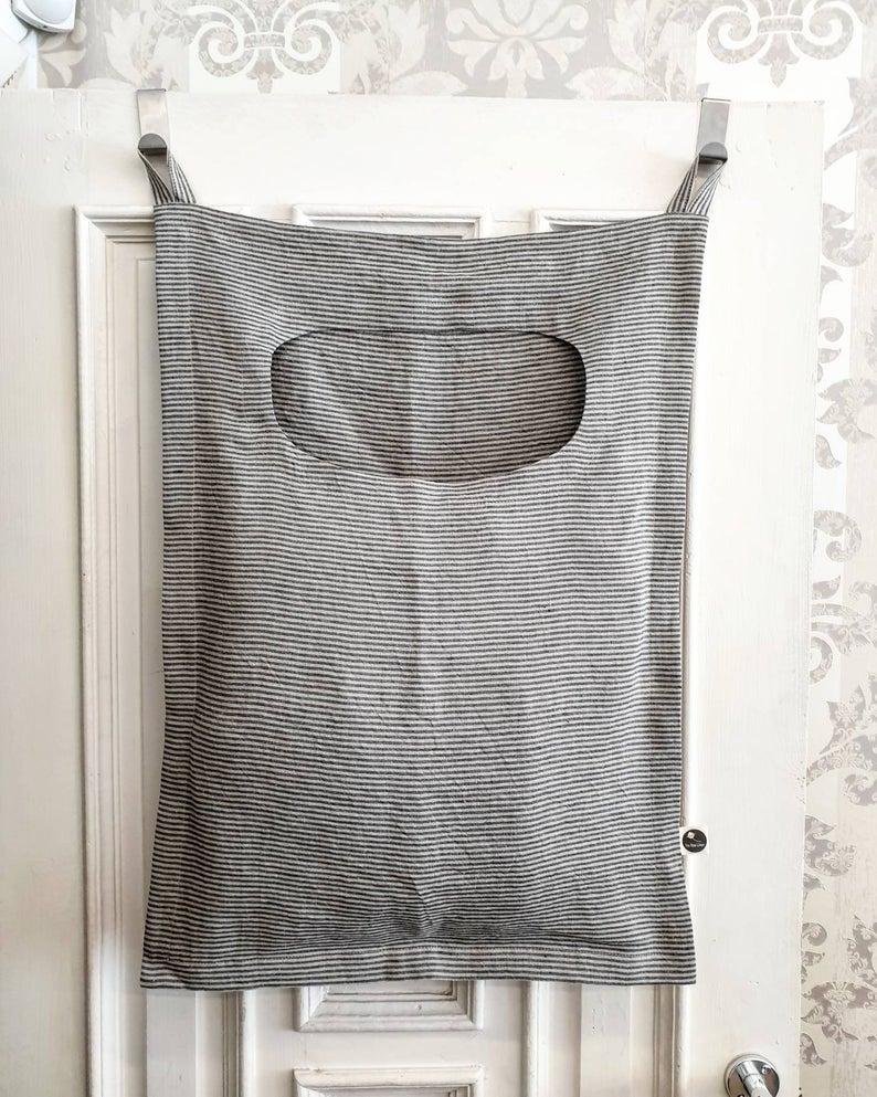Linen Laundry Door Bag Striped Laundry Hamper Bag Rough Linen