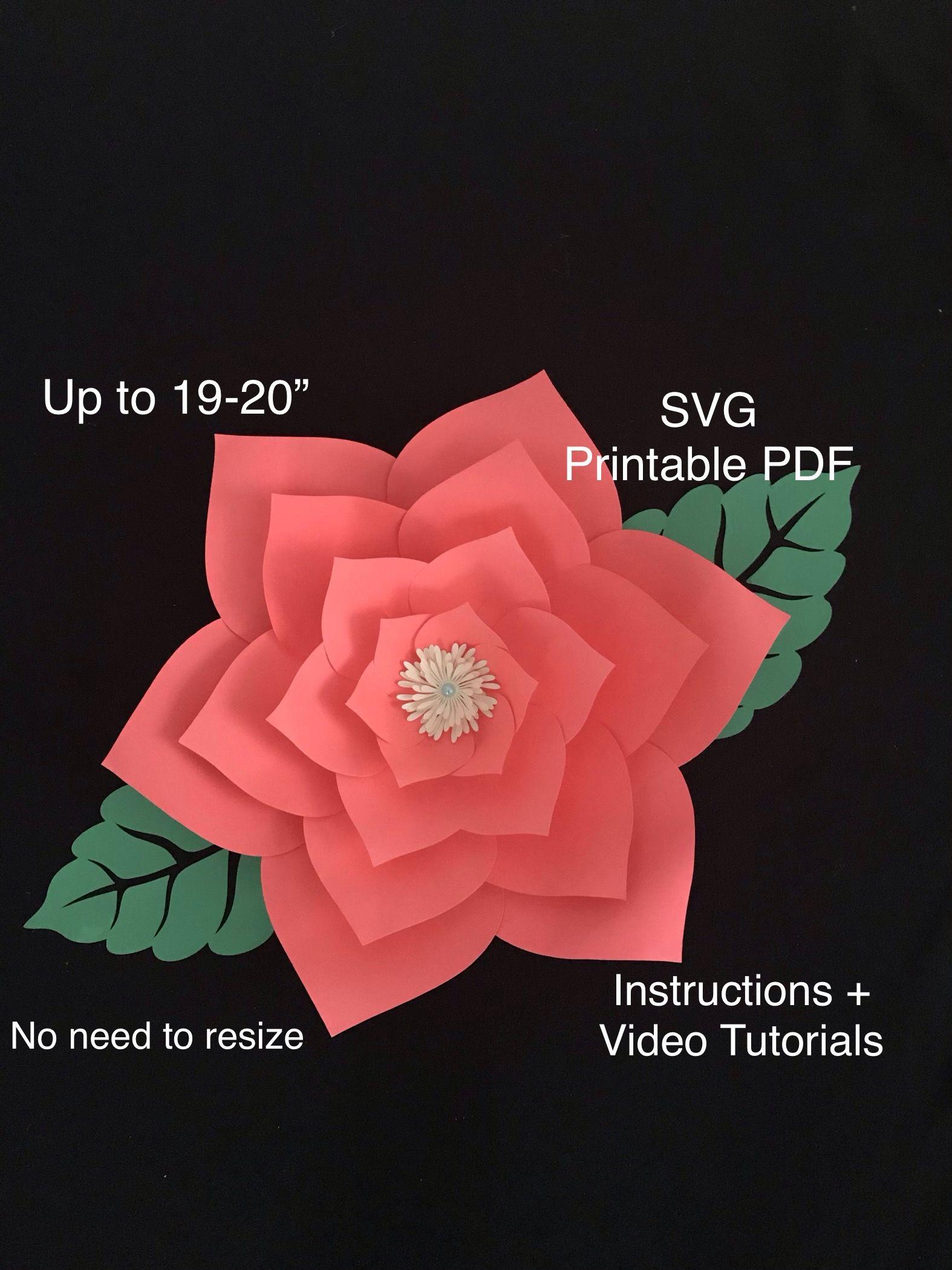 Svg Printable Pdf Large Paper Flower Template Big Paper Flowers