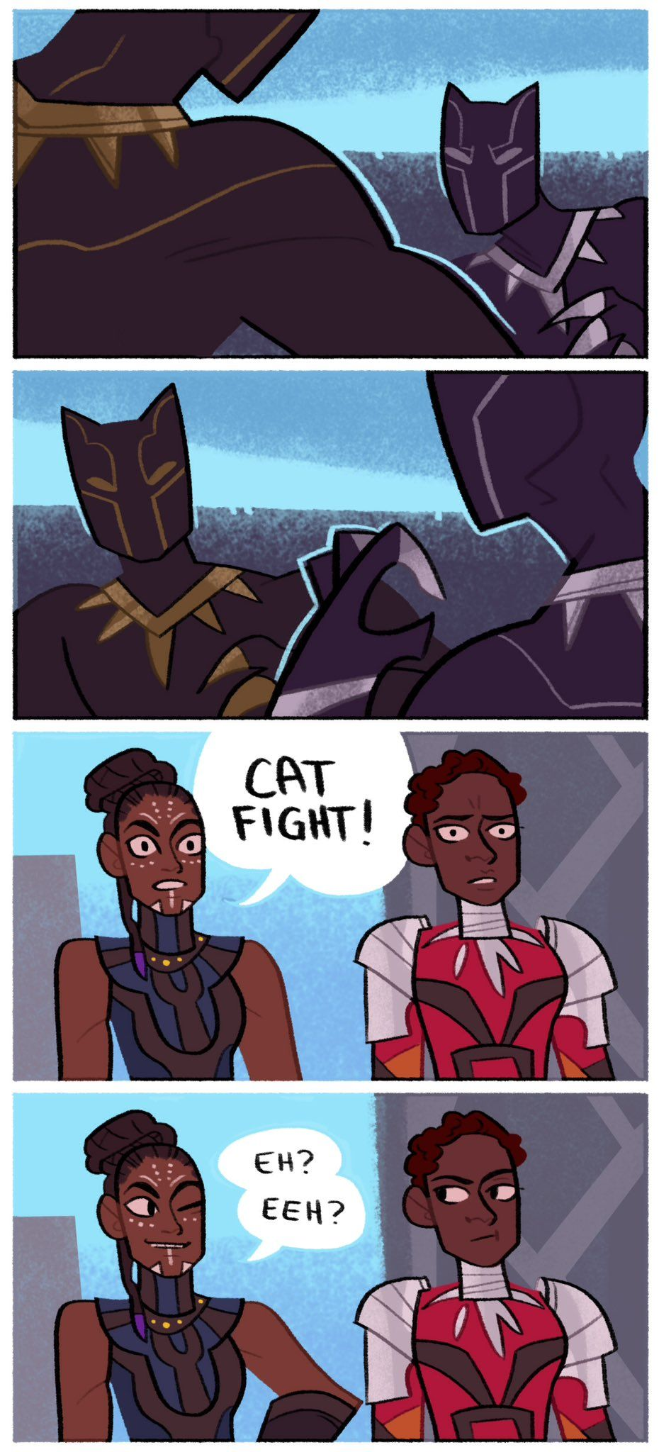 Four panel comic about the movie Black Panther. The first two panels show Black Panther and Killmonger fighting. In the third panel Shuri declares it a cat fight, which earns her a look from Nakia in the last panel.