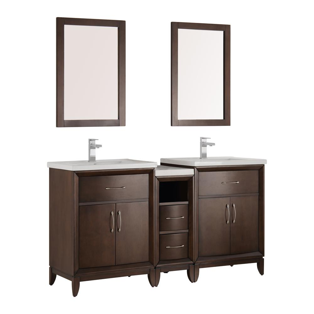 Fresca Cambridge 60 In Vanity In Antique Coffee With Porcelain