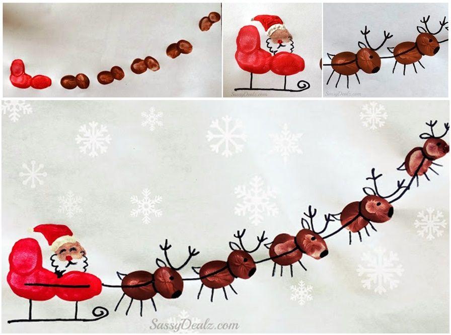 DIY Fingerprint Santa's Sleigh and His Reindeer