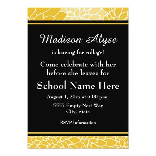 Gold Black Floral Going to College Party Invite Trunk party and