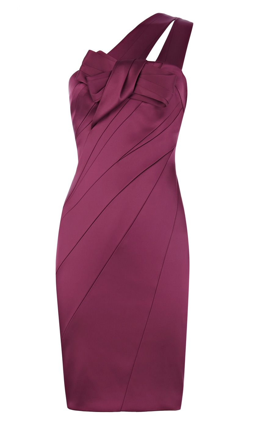 5b7bafa893a6 Karen Millen Signature Stretch Purple Satin Dress Especially, Karen Millen  One Shoulder design will show your beautiful and chic clavicle and shoulder.