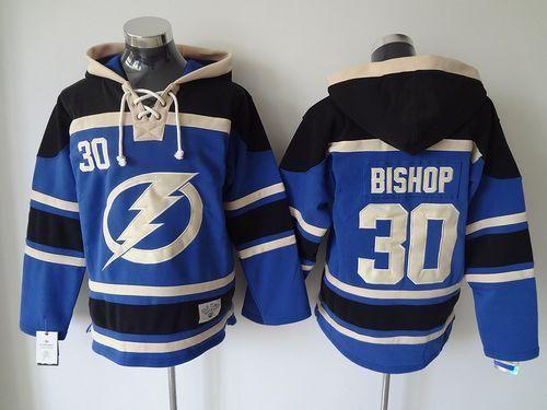 Men's Tampa Bay Lightning #30 Ben Bishop Old Time Hockey Blue Hoodie