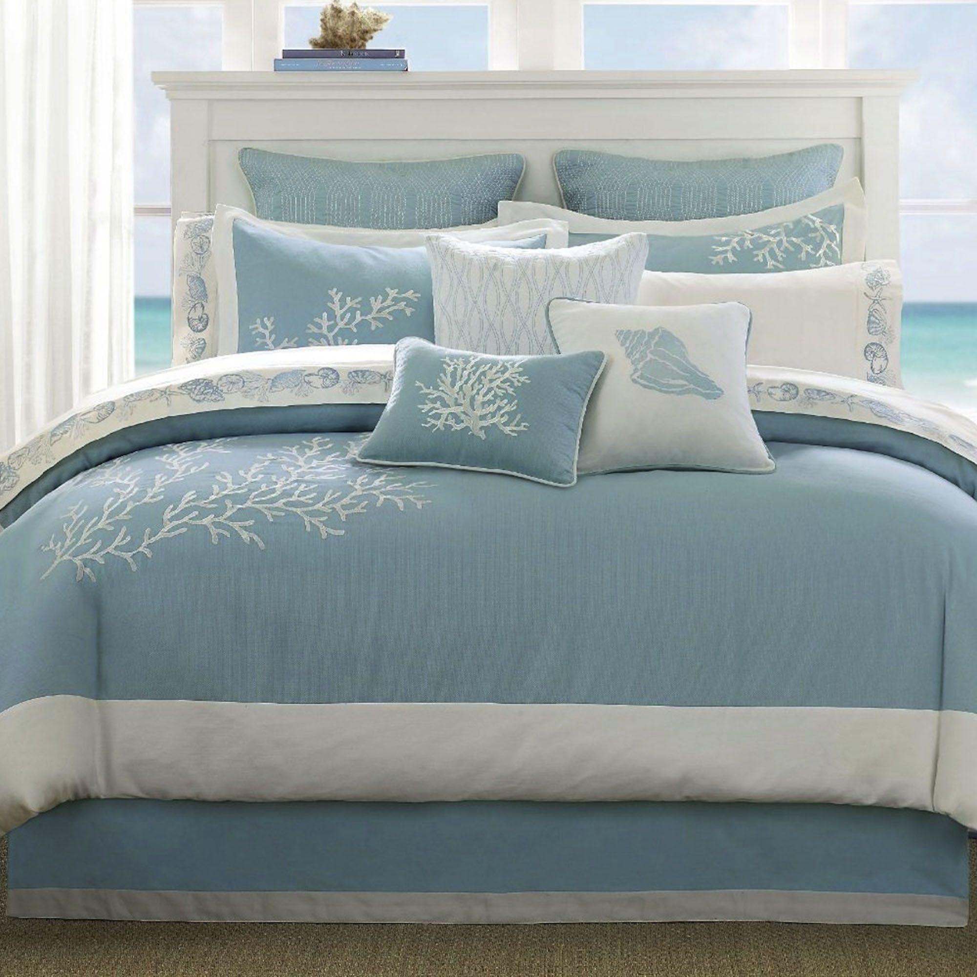 Coastline Embroidered Coral forter Bedding