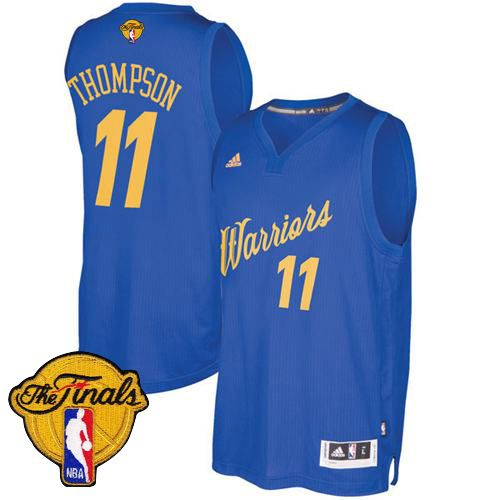 Warriors  11 Klay Thompson Blue 2016-2017 Christmas Day The Finals Patch  Stitched NBA Jersey 9de4bd0b6