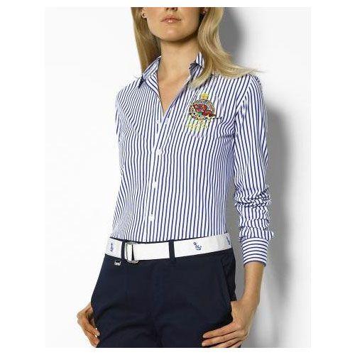 cheap ralph lauren polo shirts Coton Stripe Shirt Femme bleu blanc  http://www