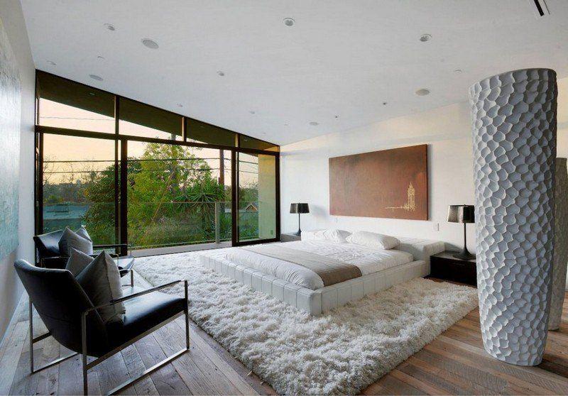 Weißes Lederbett, Shaggy Teppich Und Wände Bedroom Furniture Design, Modern  Bedroom Design, Decor