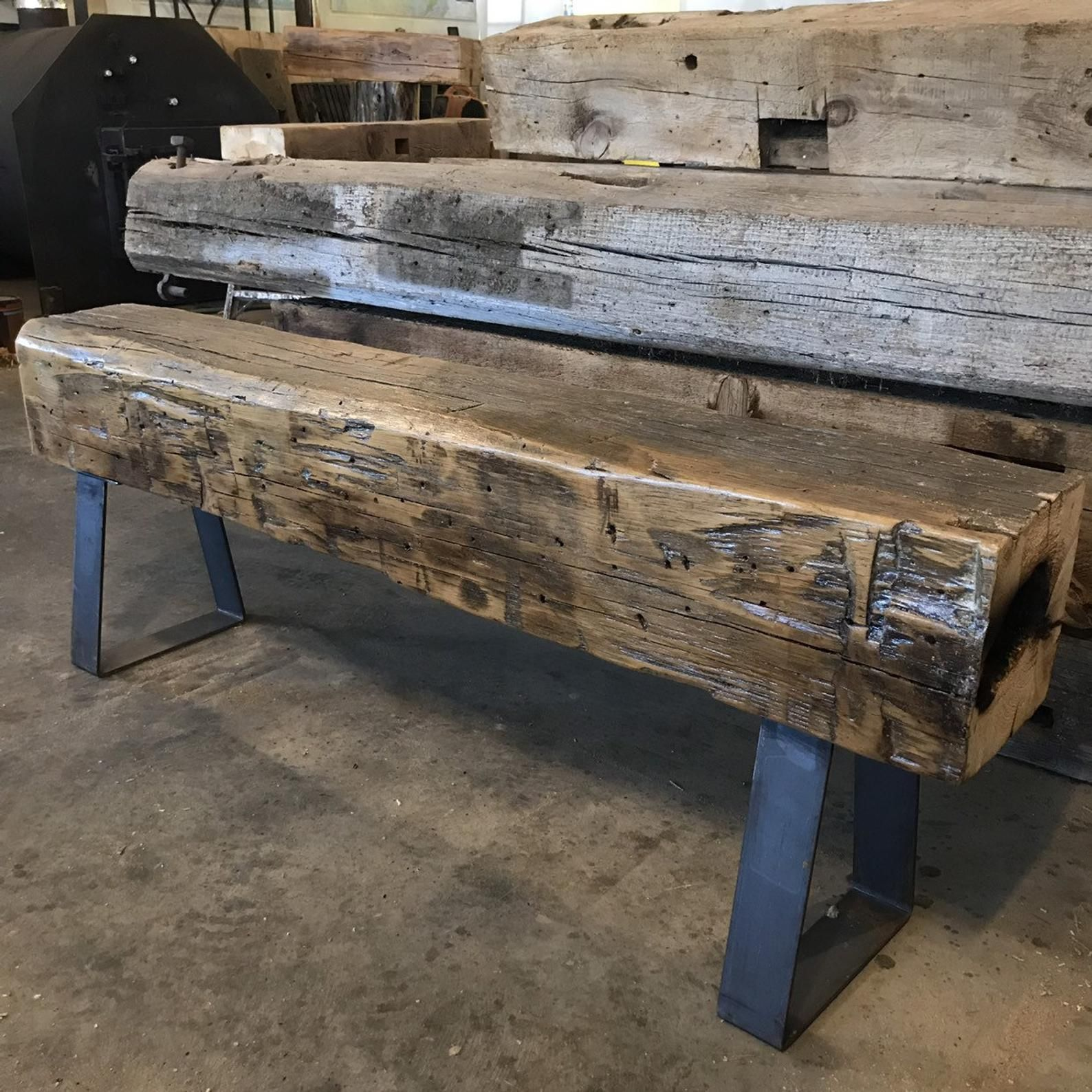 63 Long 110 Year Old Reclaimed Barn Beam Bench on Heavy ...