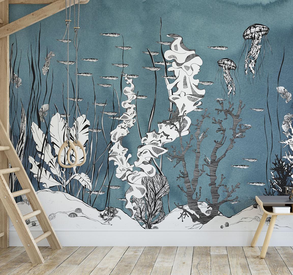 Papier Peint Deco Marine papier peint panoramique underwater représentant des fonds