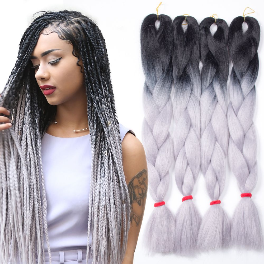5pcs Ombre Kanekalon Braiding Hair Grey Gray Kanekalon Jumbo Braid Two Tone Ombre Braiding Hair Synthe Hair Color For Black Hair Hair Styles Braided Hairstyles