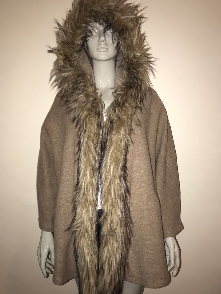 c149194794c RIVER ISLAND WOMENS BROWN TAN CAPE  SHAWL FUR SIZE 18  fashion  clothing