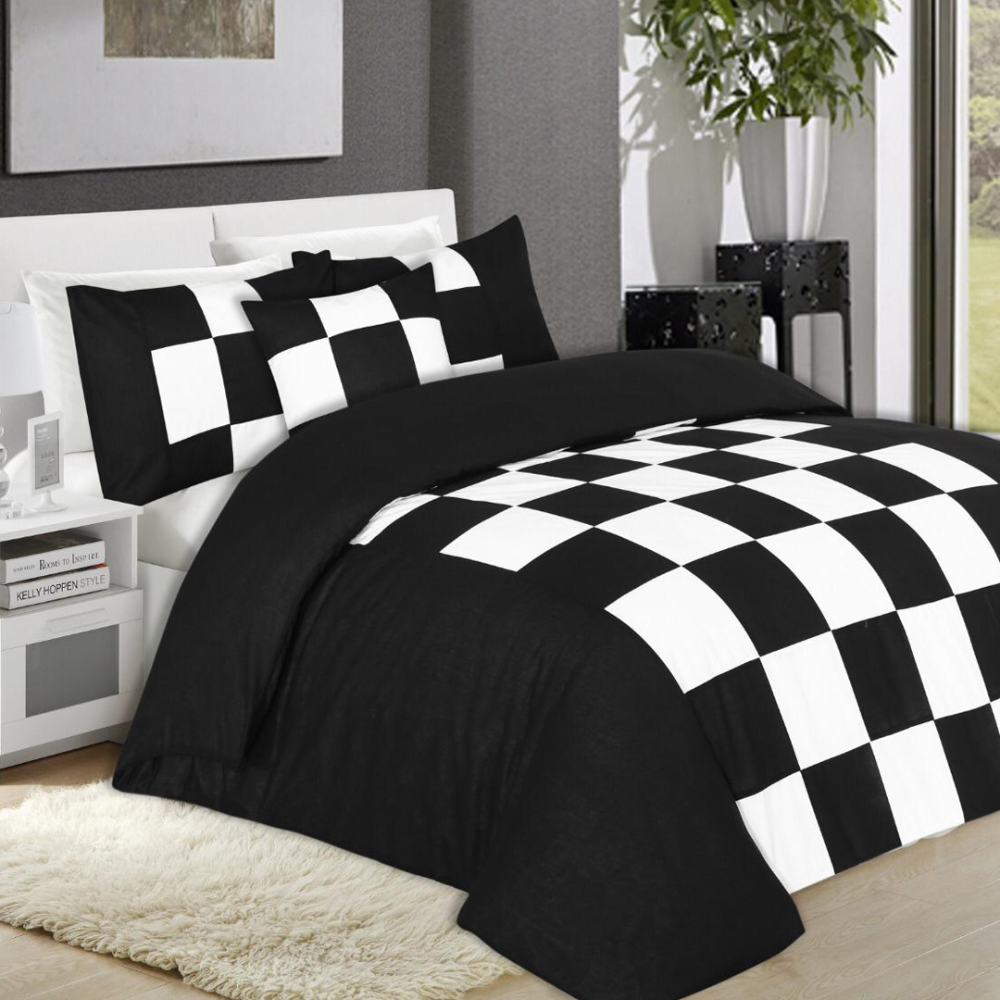 Export Cotton Fabric Bed Sheet 1 Quilt Cover 1 Cushions Covers 2 Pillow Covers 4 2 Plain Pillow Covers 2 Bed Sheets Black Bed Sheets Blue Bedding Sets