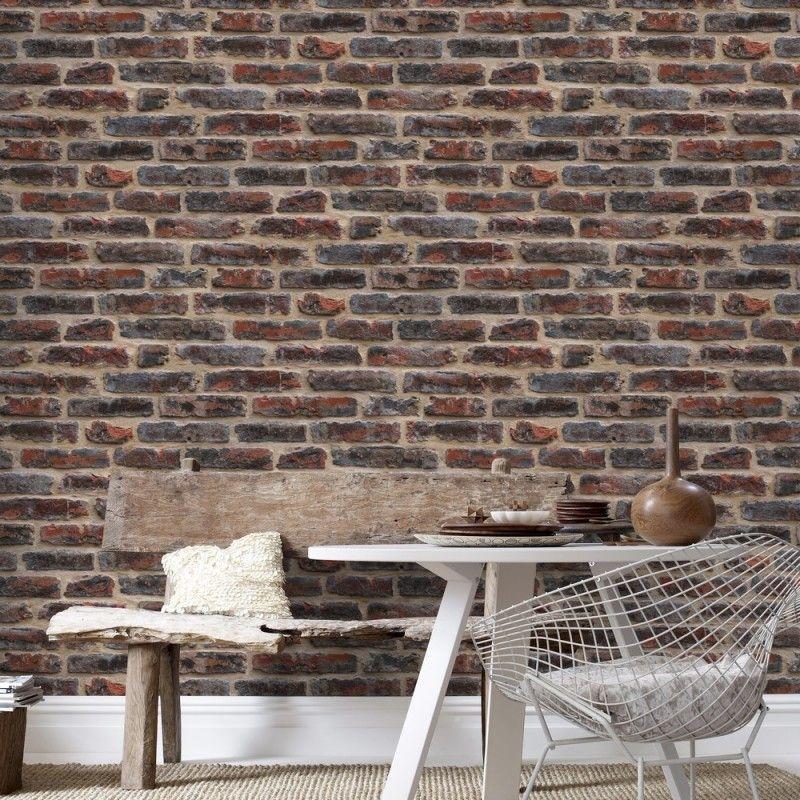 Charmant Papier Peint Trompe L Oeil Brique #11: Papier Peint Design Briques Rouges - Papier Peint Trompe Lu0027oeil Atylia.com