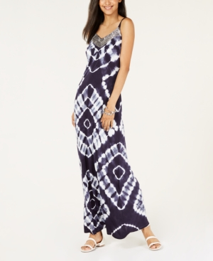 I N C Petite Tie Dyed Maxi Dress Created For Macy S Blue P Xl
