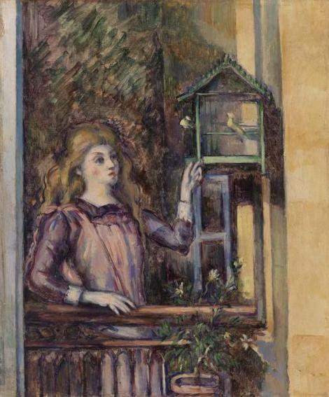 Paul Cézanne, Girl With Birdcage (Jeune fille  a la voilere) on ArtStack #paul-cezanne #art