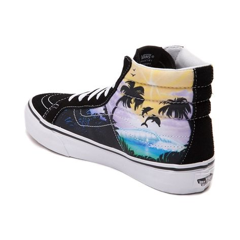 e7f7c6b909  p Make a splash with the new Sk8 Hi Slim Dolphin Beach Skate Shoe from Vans!  The fin-tastic new Sk8 Hi Slim Skate Sneaker rocks a hi-top
