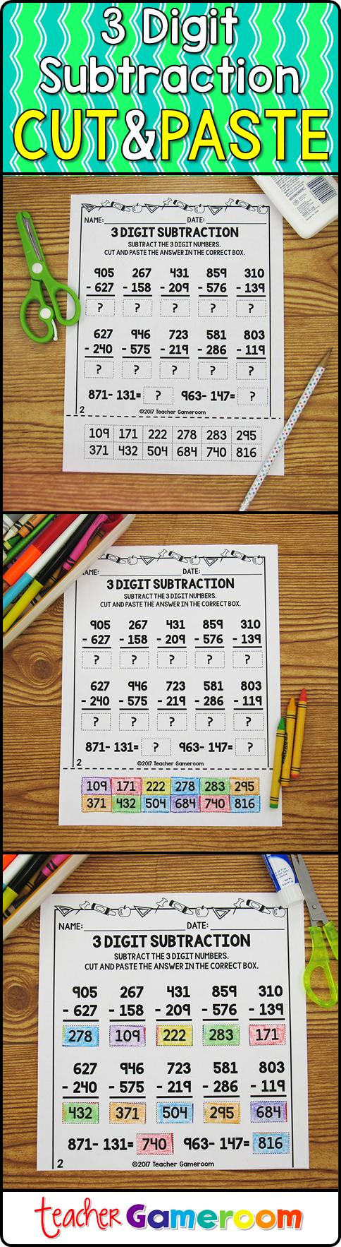 3 Digit Subtraction Worksheets Teaching subtraction