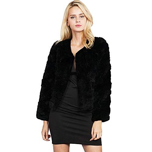 9cb32648334 JOFOW Womens Faux Fur Jacket Solid Clearance Autumn Winter Cropped ...