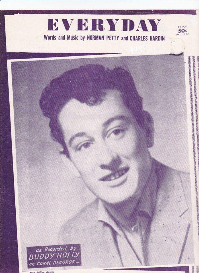 Lyric everyday lyrics buddy holly : 1957 sheet music cover for