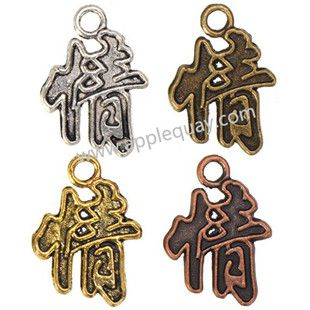 Zinc Alloy Alphabet Charms,Chinese Love,Plated,Cadmium And Lead Free,Various Color For Choice,Approx 22.5*16*1.5mm,Hole:Approx 3mm,Sold By Bags,No 001929B
