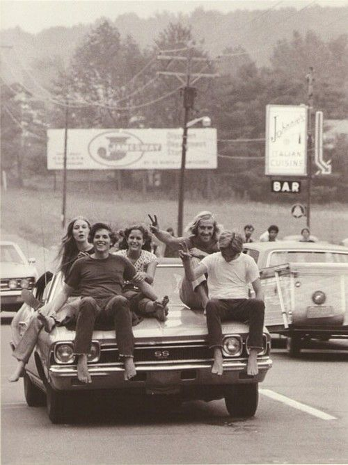 Hitching a ride to Woodstock. 1969.