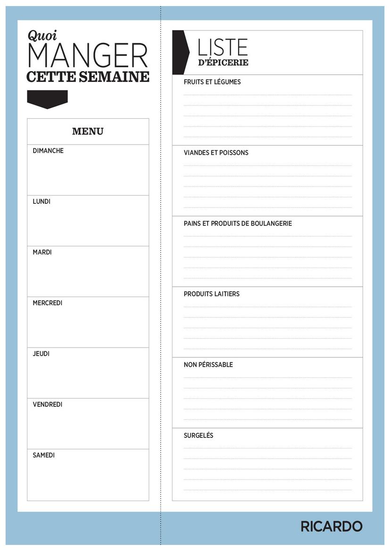 Fabuleux Modèle de menu de la semaine à imprimer sous forme de semainier  GJ95