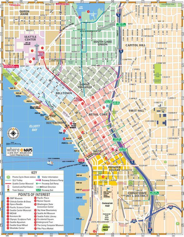 Printable and Downloadable Map of Downtown Seattle | Favorite Places ...
