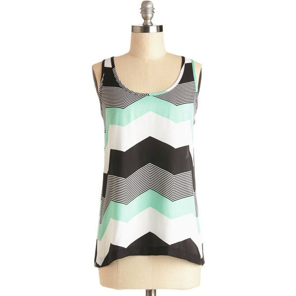 Jack by BB Dakota Mid-length Tank top (2 thick straps) Shoppin' ($38) ❤ liked on Polyvore featuring tops, chevron, apparel, multi, sleeveless woven, woven top, sleeveless tops, strappy tank, polka dot top and chevron top