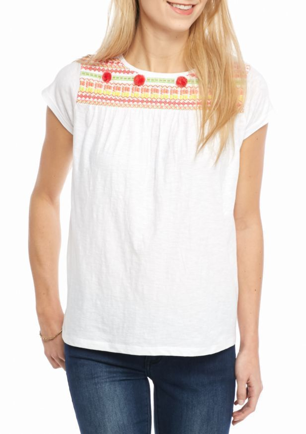 a6afec9a498b10 Crown & Ivy Women's Petite Size PP Embroidered Cap Sleeve Knit Top White  Tee New #CrownIvy #Blouse #Casual