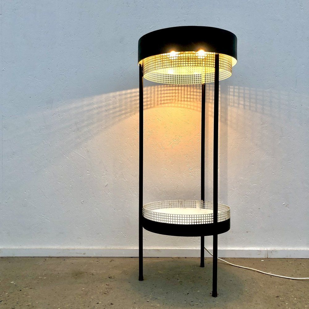 For sale DDR industrial vintage floor lamp with plant