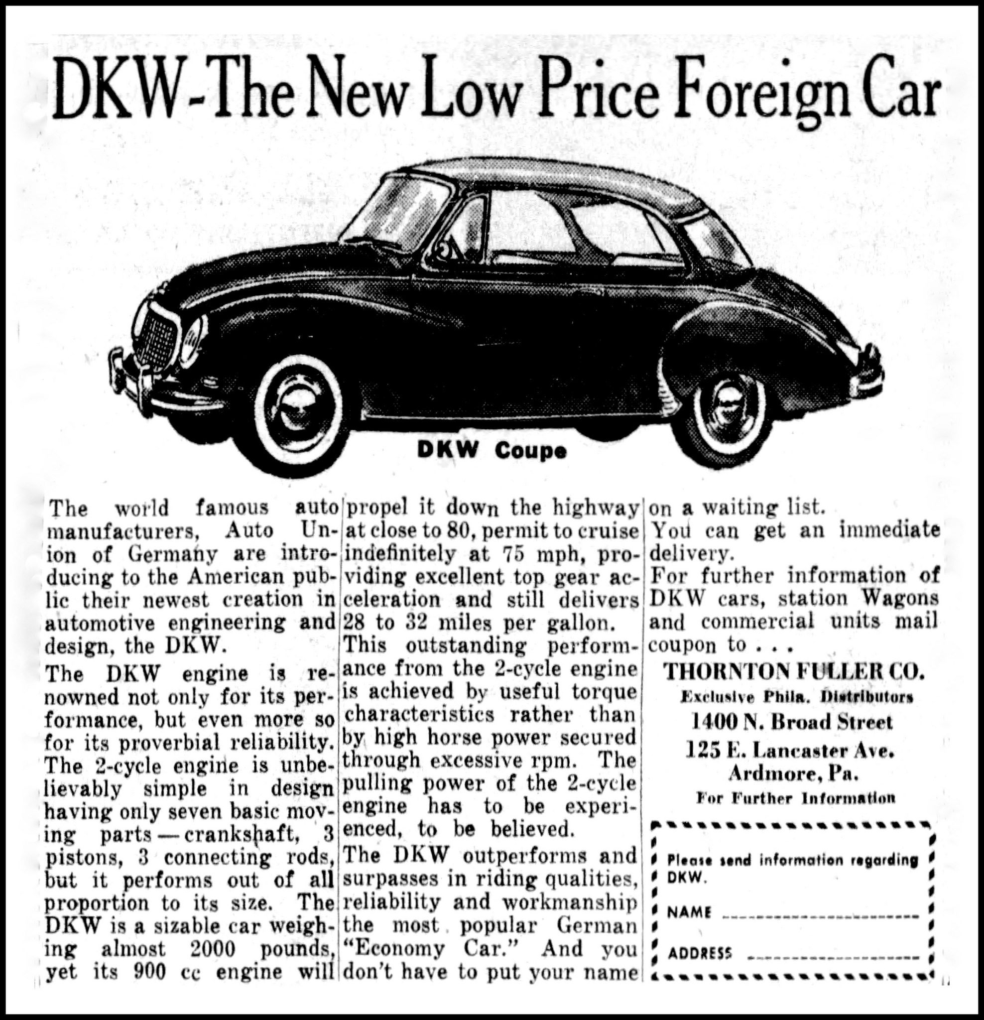 wiring diagram database  advertising for the dkw german automobile in the