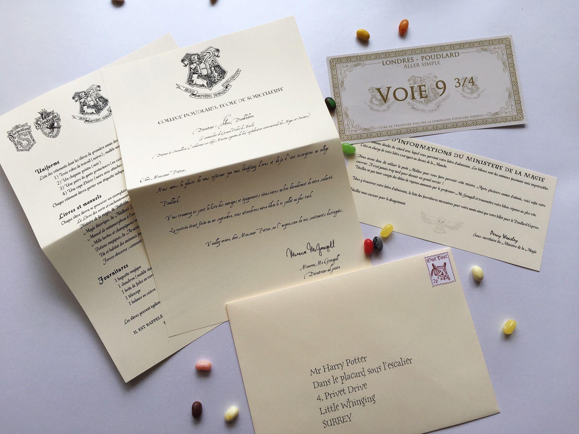 Super Lettre d'admission personnalisée à Poudlard - inspiré Harry Potter  BK28