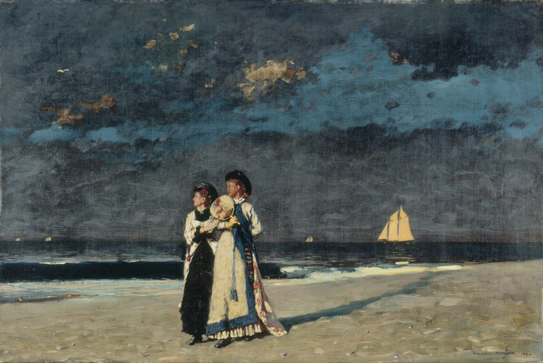 """Follow the link to read about Winslow Homer's letter to George Walter Vincent Smith, the founder of our oldest museum, about this painting """"Promenade on the Beach""""."""
