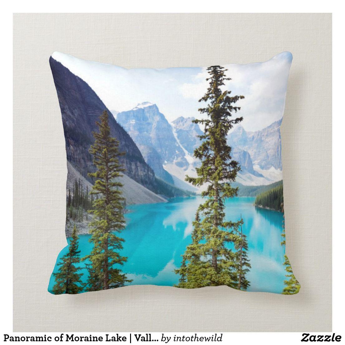 Panoramic Of Moraine Lake Valley Of Ten Peaks Throw Pillow Zazzle Com Throw Pillows Pillows Custom Pillows