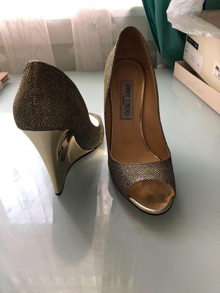 Jimmy Choo Gold Glitter Wedges  Größe 38.5  fashion  Wedges clothing  schuhe ... 1c84ce