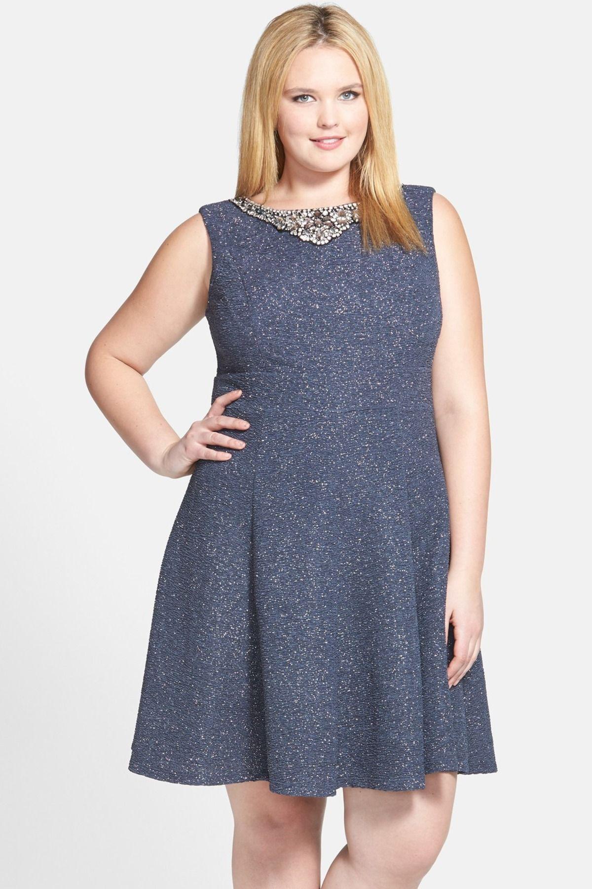Embellished neck fit flare dress plus size by eliza j
