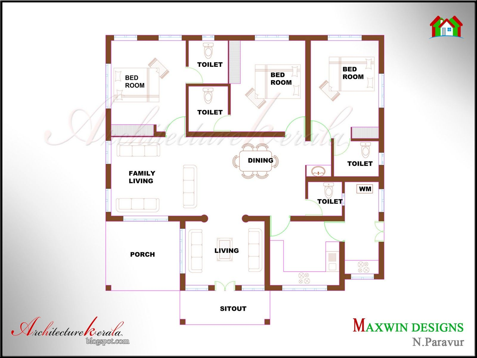 Single floor 4 bedroom house plans kerala for Kerala style 2 bedroom house plans
