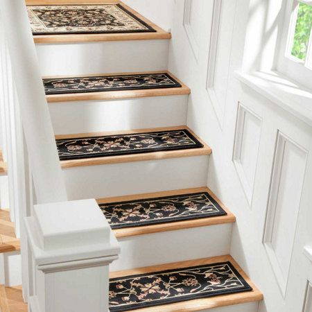 Best Border Floral Low Profile Rugs Stair Treads Stair 400 x 300