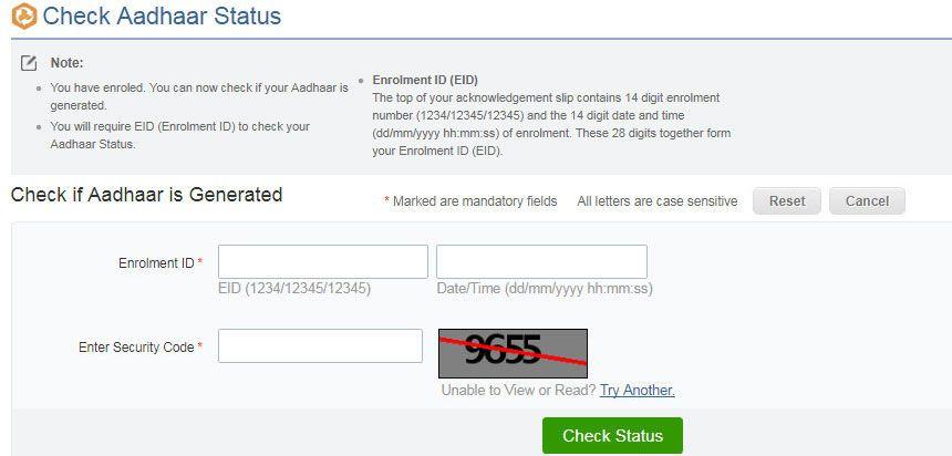 Aadhar Card Status Check Enquiry Aadhaar Update Status Online